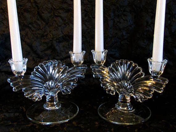 Fan Flared Double Candle Holder Set Etched Base Double Candle