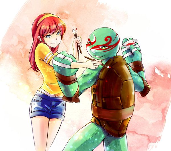 TMNT:Michelangelo and April by ice-mei on DeviantArt