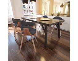 271946 Krzesła do jadalni Drewno+Materiał x4