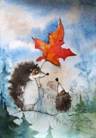Просмотреть иллюстрацию Осень из сообщества русскоязычных художников автора Алексеева Марина в стилях: Детский, нарисованная техниками: Акварель | Тушь.