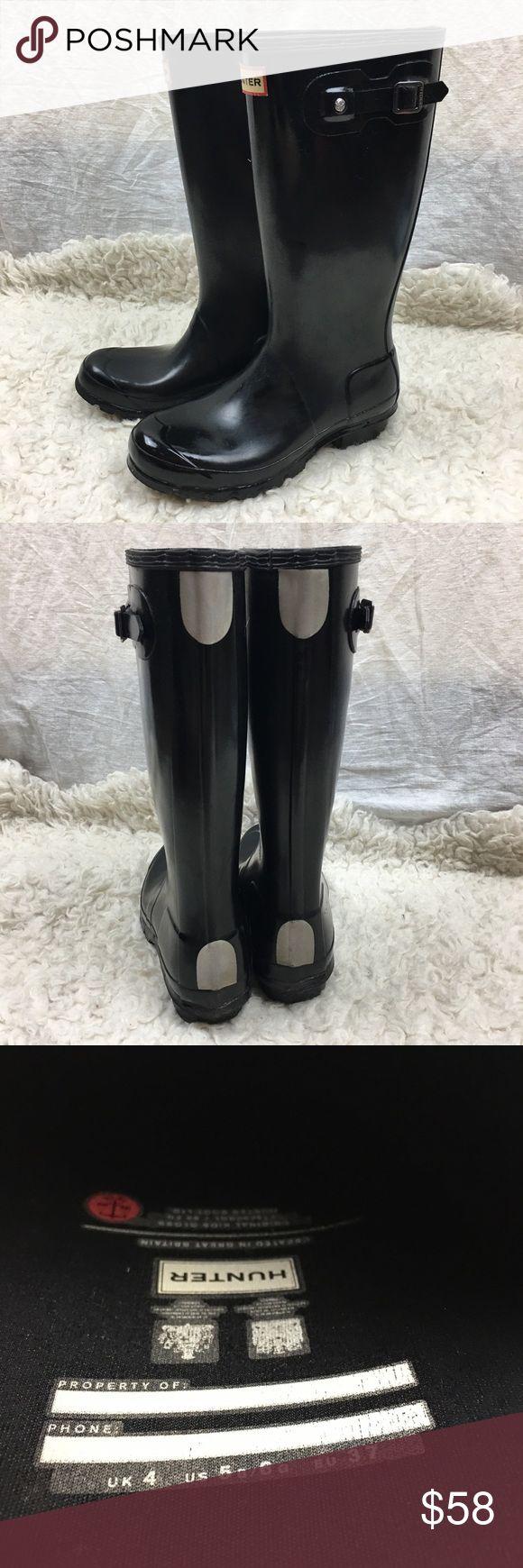 Hunter huntress black glossy rubber rain boots 6 Hunter Women's Black Glossy Rainboots - Waterproof Size EUR 37 / US 6 Hunter Boots Shoes Winter & Rain Boots