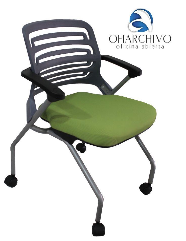 silla interlocutora con rodachines verde sillas