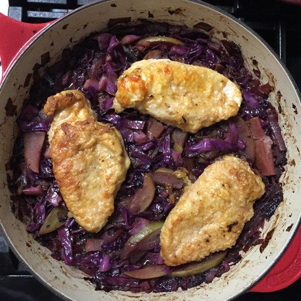 "Oktoberfest Chicken and Red Cabbage | ""My family absolutely loved this. We had to keep them from piling their plates full!"""