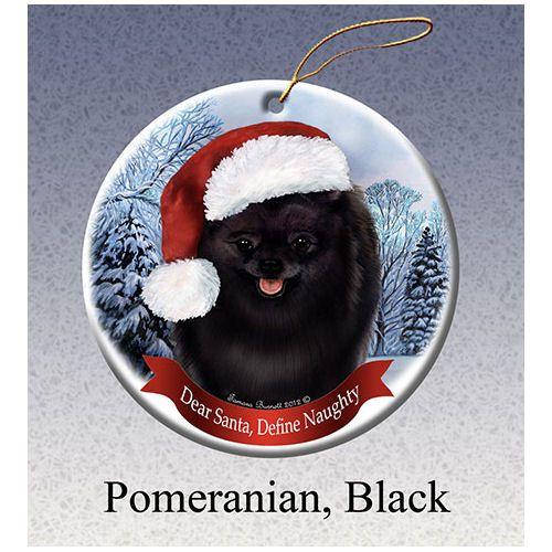 Pomeranian Black Howliday Dog Christmas Ornament