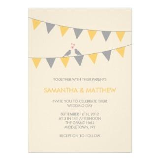 46 best janes wedding invite images on pinterest invitation ideas bunting love birds wedding rsvp grey yellow card stopboris Gallery