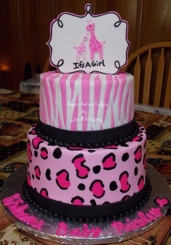Girl Safari Baby Shower Cakes