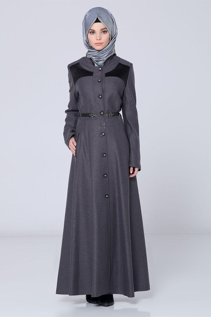 Long Grey Abaya with Belt