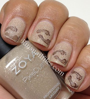 Zoya Nail Polish in Godiva with footprint nail art