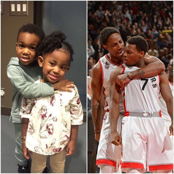 Raptors duo Kyle Lowry and DeMar DeRozan's on-court props just got a lot cuter thanks to Karter Lowry and Diar DeRozan.