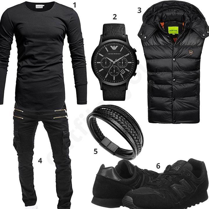 Schwarzes Herren-Outfit mit Crone Longsleeve, Emporio Armani Uhr, Bolf Weste, Merish Biker-Jeans, Lederarmband und New Balance Sneakern.
