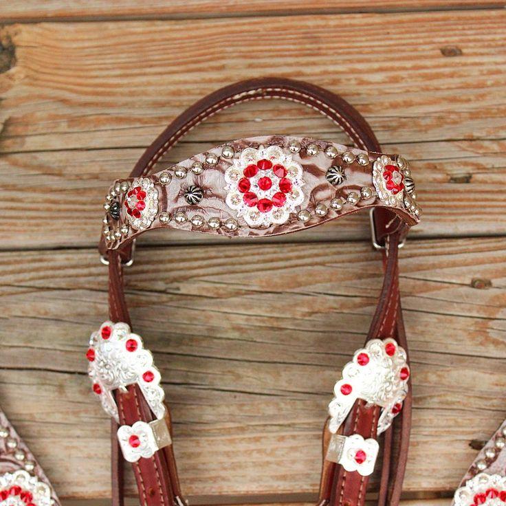 Floral Bone/Chestnut Leather Fringe Browband Tack Set w/Red-Clear Crystal Rhinestone Conchos