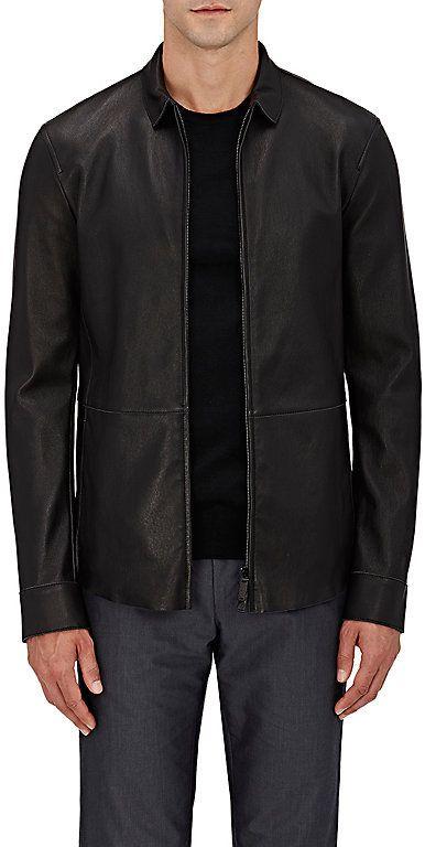 Giorgio Armani Men's Bonded Leather Shirt Jacket-Black