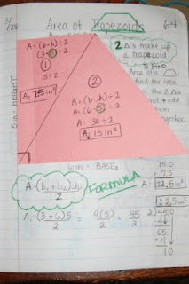"Area of Trapezoid - ""We started with a trapezoid cut out that I provided to all my students.  I told them that triangles and trapezoids were related.  Using one line, can you figure out how and draw it?  Gotta admit... it stumped some them...  And on a side note.... didn't I learn all this in 10th grade Geometry???? When did 10th grade become 6th grade math!??!?!""  (Why, yes, yes you did.  When?  When legislators started deciding what we needed to teach at what age.)"