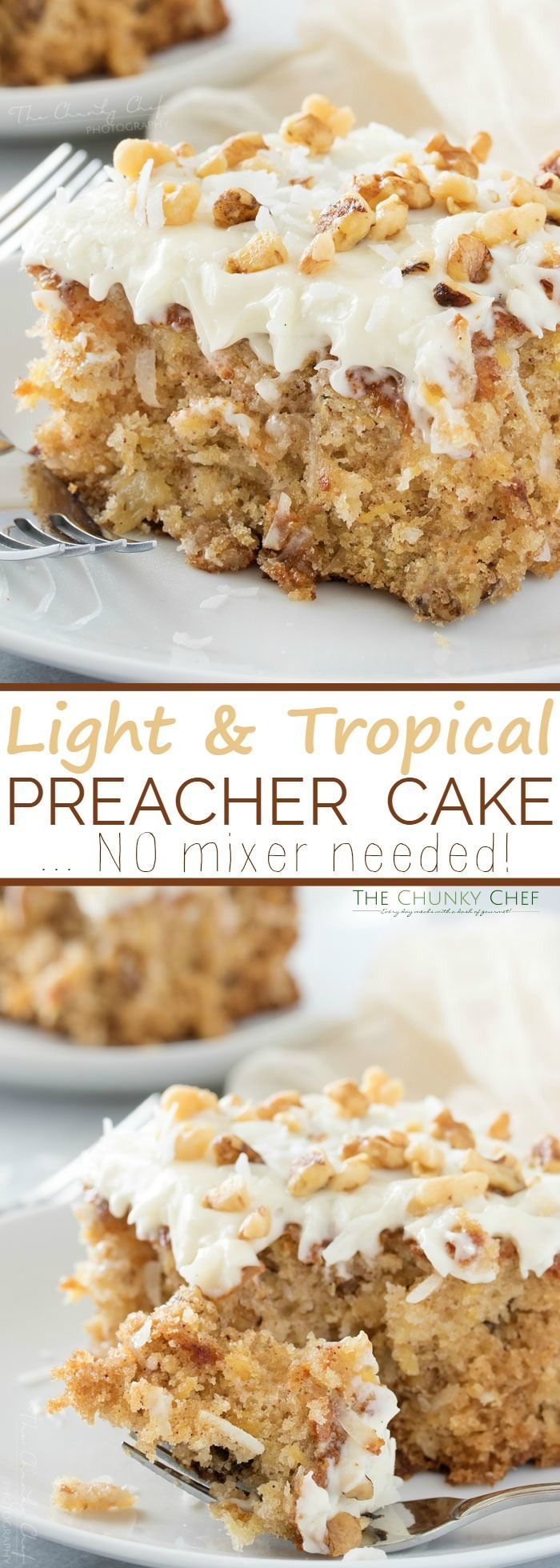 Preacher Cake   This light, moist, and tropical preacher cake is the easiest dessert ever! You mix it together with a wooden spoon, in one bowl... no mixer needed!   http://thechunkychef.com