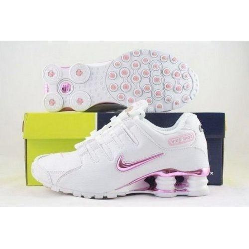 Nike Shox NZ White Pink Women Shoes Sale: $79.59