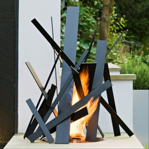 neat idea but needs more soft, organic, approachable shapes to warm up this cold attempt at an artful fire