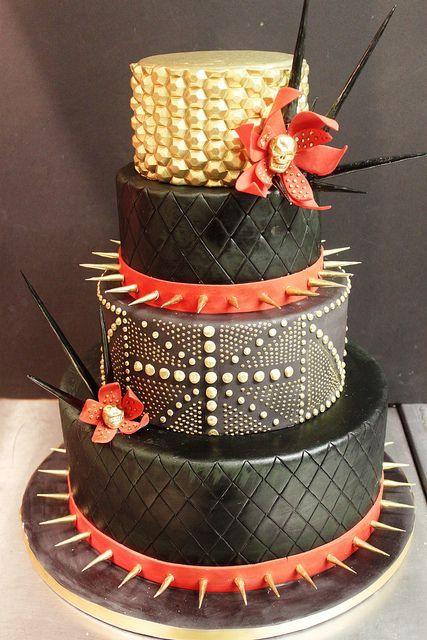 Alexander McQueen Inspired Black, Red & Gold Wedding Cake