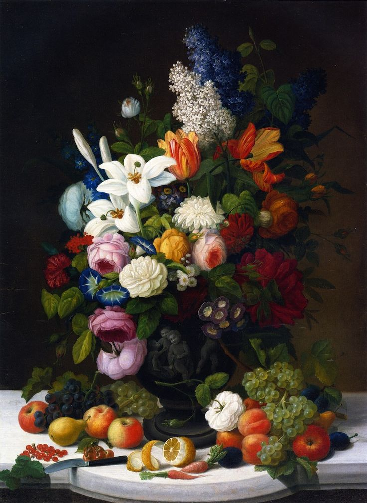 The Athenaeum - Still Life with Flowers and Fruit (Severin Roesen - 1848)