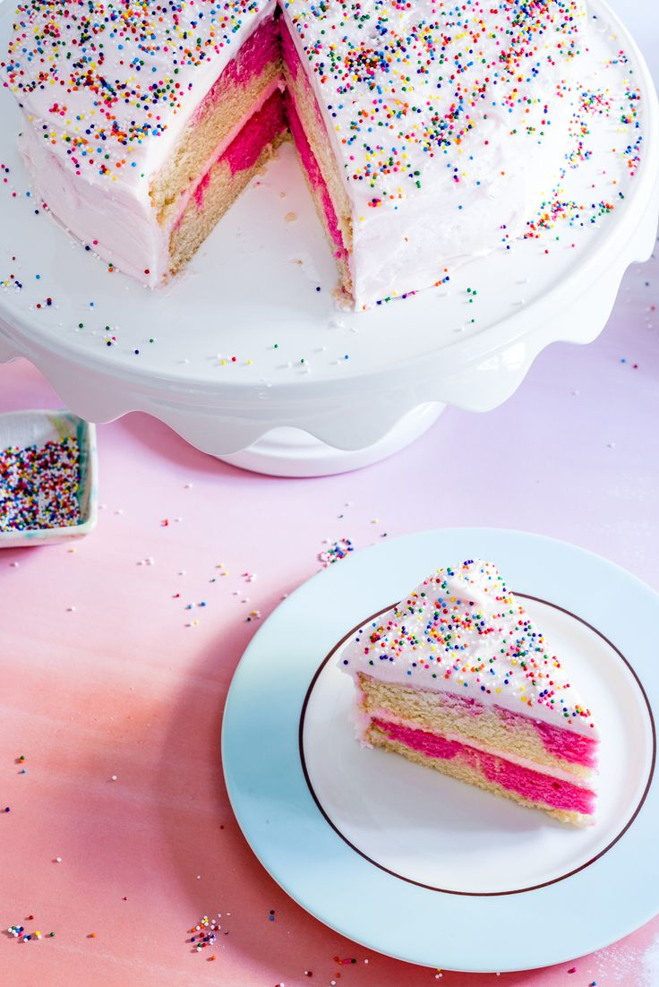 Pink Swirl Cake with rainbow sprinkles on luv-cooks.com. Perfect for turning 30!! #party #30