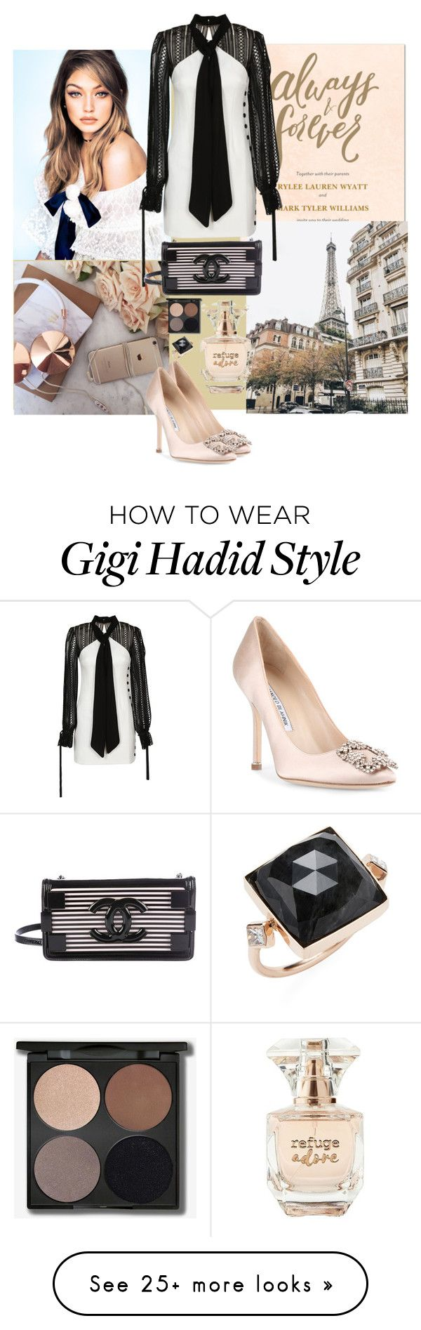 """Glam chic"" by rom-julia on Polyvore featuring self-portrait, Manolo Blahnik, Chanel, Refuge and Jacquie Aiche"