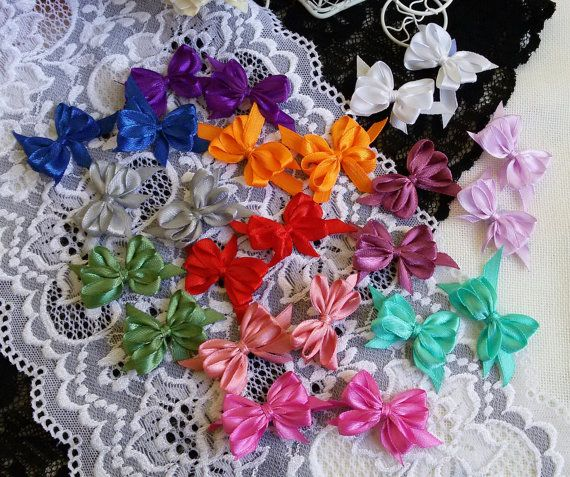 24 colorful satin ribbon bows handmade craft by Rocreanique on Etsy