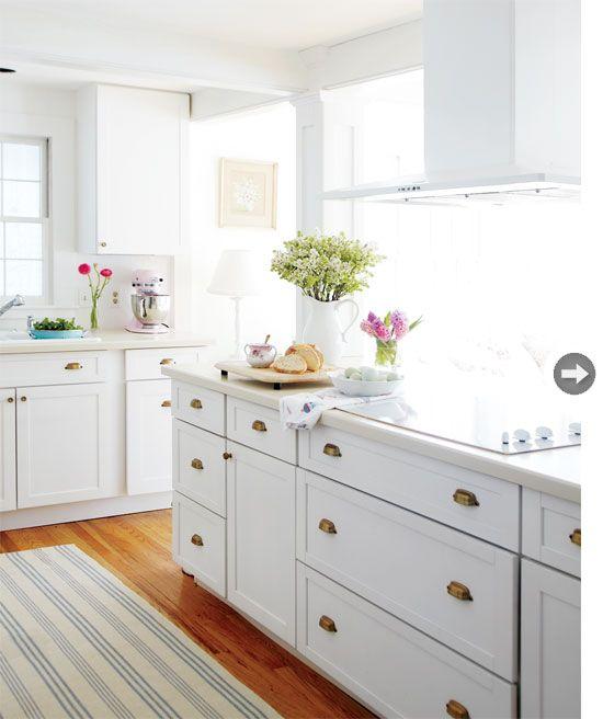white kitchen, summer stripe runner