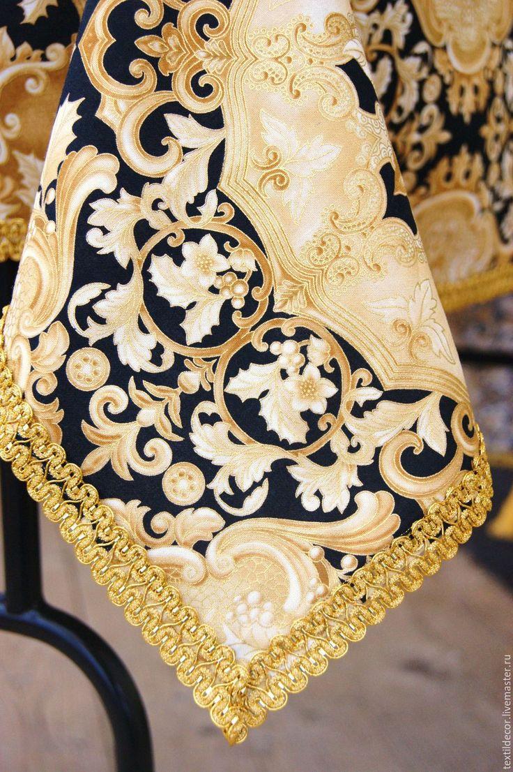 """Купить Скатерть """"Золото"""" - золотой, золотистый цвет, черно-золотой, скатерть, скатерть на стол"""
