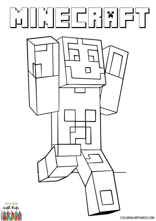 Minecraft Steve Coloring Page Author Nbsp Lena London Adapted From Minecraft Steve And Creepe Minecraft Coloring Pages Minecraft Steve Coloring Pages
