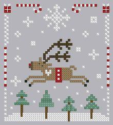 Christmas ornament cross stitch reindeer