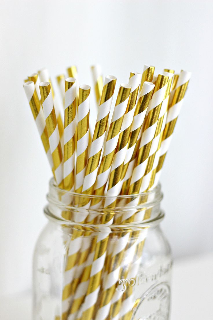 Gold Striped Straws-Birthday, Wedding, Bachelorette, Shower by ChampagneAndConfetti on Etsy