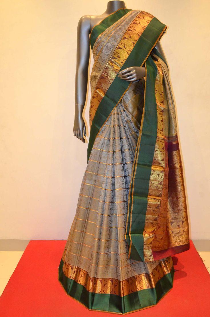 Traditional Classic Grey Zari Kanjeevaram Silk Saree Product Code: SSJG06347  Online Shopping: http://www.janardhanasilk.com/Saree-Collections/Kanjeevaram-Silk-Saree/Traditional-Classic-Grey-Kanjeevaram-Silk-Saree?limit=25