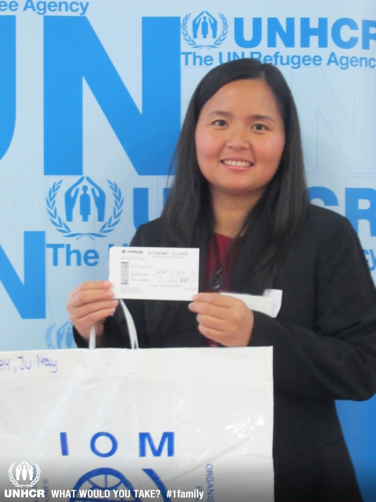 """Ju Nay Say is a refugee from Myanmar who fled to Thailand with her family as a two-year old. She was resettled to New Zealand in 2011. She says: """"I'd never been outside the camp.  We didn't have any documents to go out, so you could be arrested by the police and they would send you back. I found this bag is very important, because it had all of our documents inside.  No-one questioned us because it had all our documents.  Also inside I found the ticket for us to fly to"""