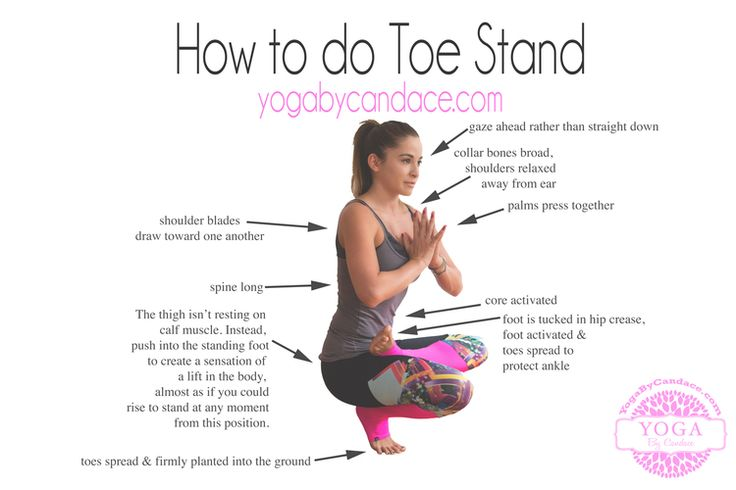 Click to enlarge! Pin now and practice later! How to do Toe Stand Pose - infographic and video!