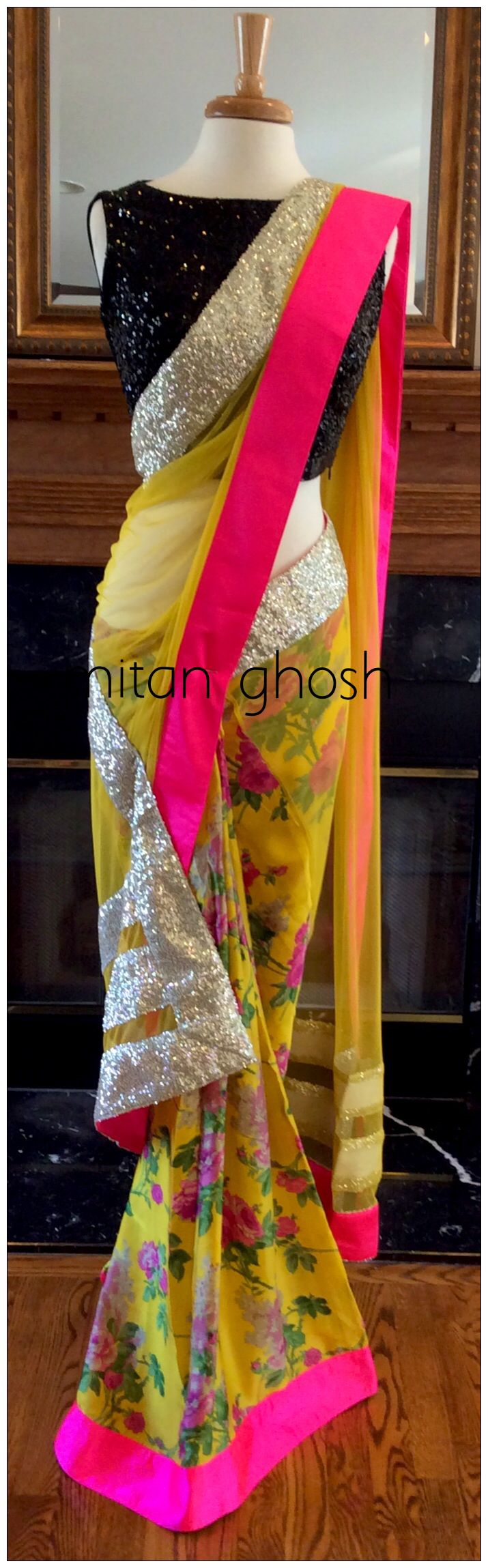 It's a tad busy but I kinda like it!   Printed georgette and net saree