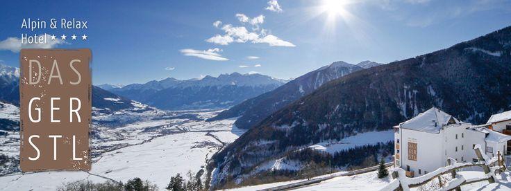 Winterlicher Panoramablick vom Hotel Das Gerstl auf den Vinschgau