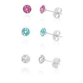 Crystal 3 Stud Earrings Surgical Steel Set image-a