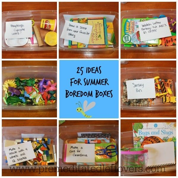 25 Ideas for Summer Boredom Boxes - Here are 25 ideas to keep your kids occupied this summer - perfect for days when your kids can't think of anything to do.