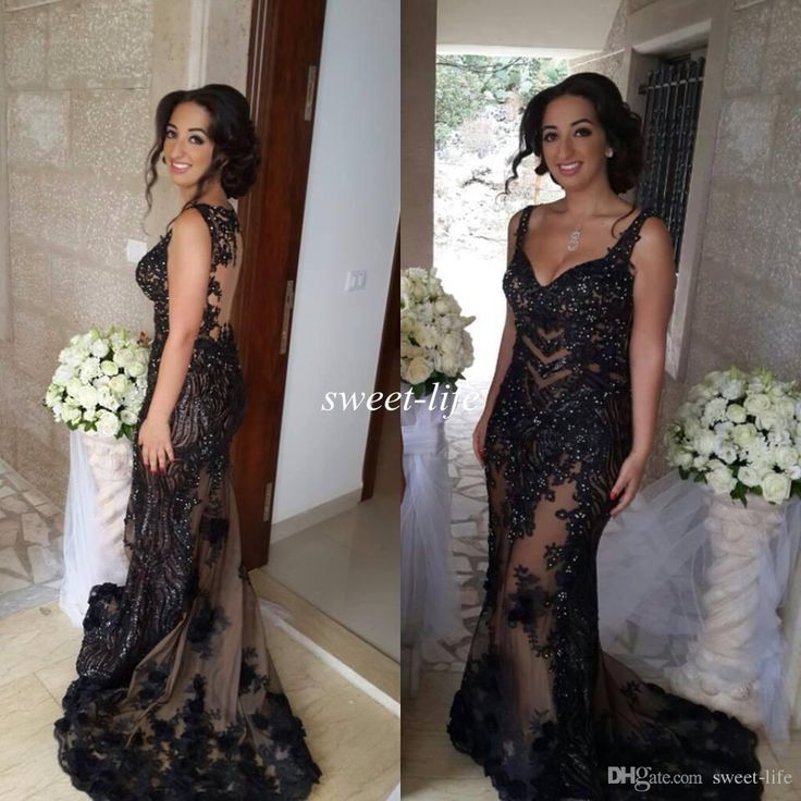 Hanna Toumajean Black Evening Dresses 2016 Sexy See Through Lace Sequined Spaghetti Mermaid Formal Miss Usa Pageant Dresses Party Prom Gowns Evening Gowns Dresses Evening Wear Dresses Uk From Sweet Life, $167.16| Dhgate.Com
