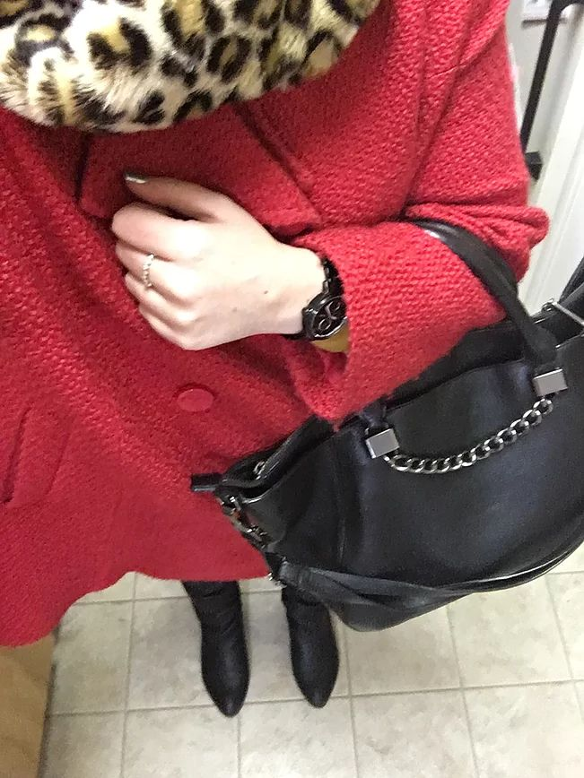 Coat - Value Village (December Finds)/ Sweater - Mom's Closet (literally)/ DKNY Jeans - Winners/ Leopard Stole - Joe Fresh/ Purse - DSW/ Steve Madden Boots - P