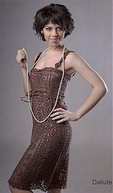 Шоколадное платье крючком от Daiva Staniulyte.