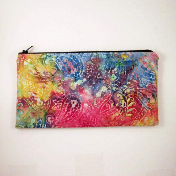 Colorful Batik Zipper Pouch Gadget Bag Make Up Bag by HahnStitched, $12.00