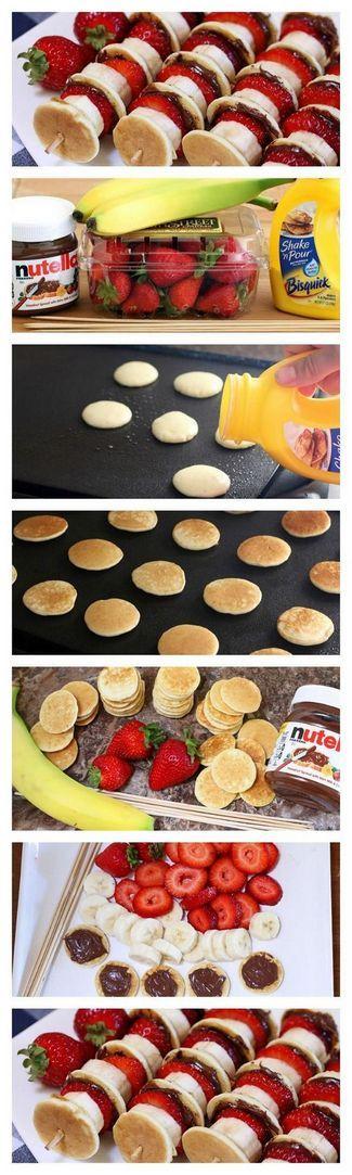 Nutella Mini Pancake Kabobs | Mini pancakes, strawberries, bananas, Nutella!