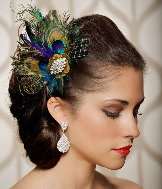 PEACOCK FEATHER HEADPIECE  The Josephine is a beautiful combination of turquoise bronze feathers with two brilliant peacock feathers, a peacock
