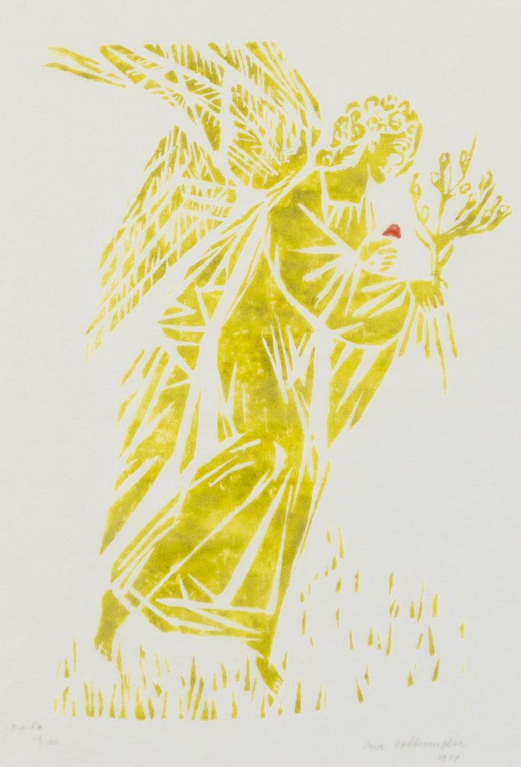 Ina Colliander: Enkeli, 1979, puupiirros, 36x25 cm, edition 78/100 - Hagelstam 5/2016
