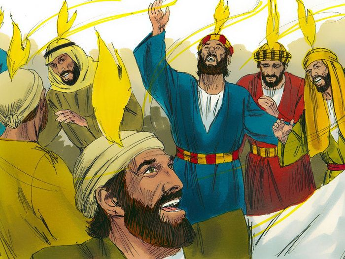 Free Bible illustrations at Free Bible images of the Holy Spirit coming in power on the Day of Pentecost. (Acts 2:1-47)