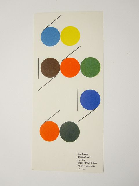 New Year card by Walter Marti, 1960 by Herb Lubalin Study Center, via Flickr