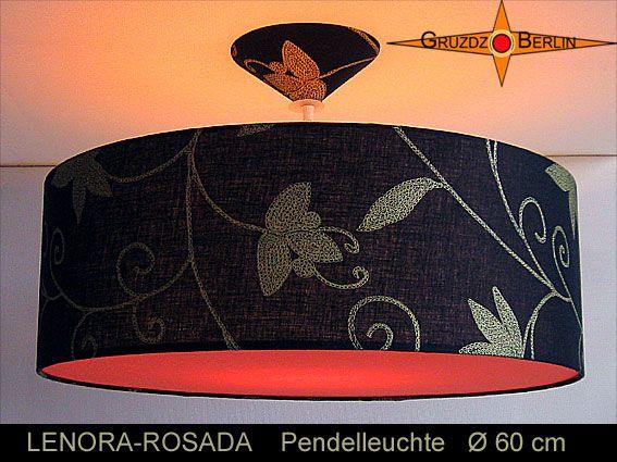 Loungeleuchte LENORA-ROSADA Ø 60 cm, Pendellampe mit Diffusor und Baldachin, Leinen. Einmal mehr: Ein wunderbarer Stoff mit eleganter Wirkung aus schwarzem Leinen und goldfarbenem Blütendruck.