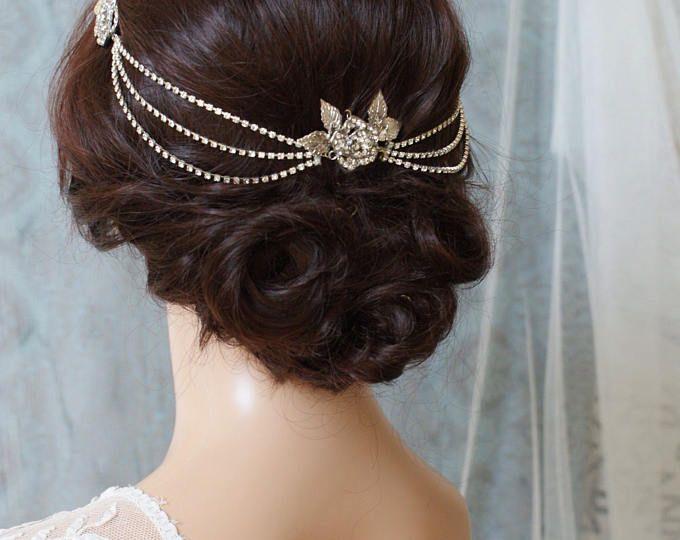 Hair Chain Headpiece - Art Deco Headpiece -Bridal hair jewellery - 1920s Bridal headpiece - Crystal Chain headpiece -1930s wedding dress