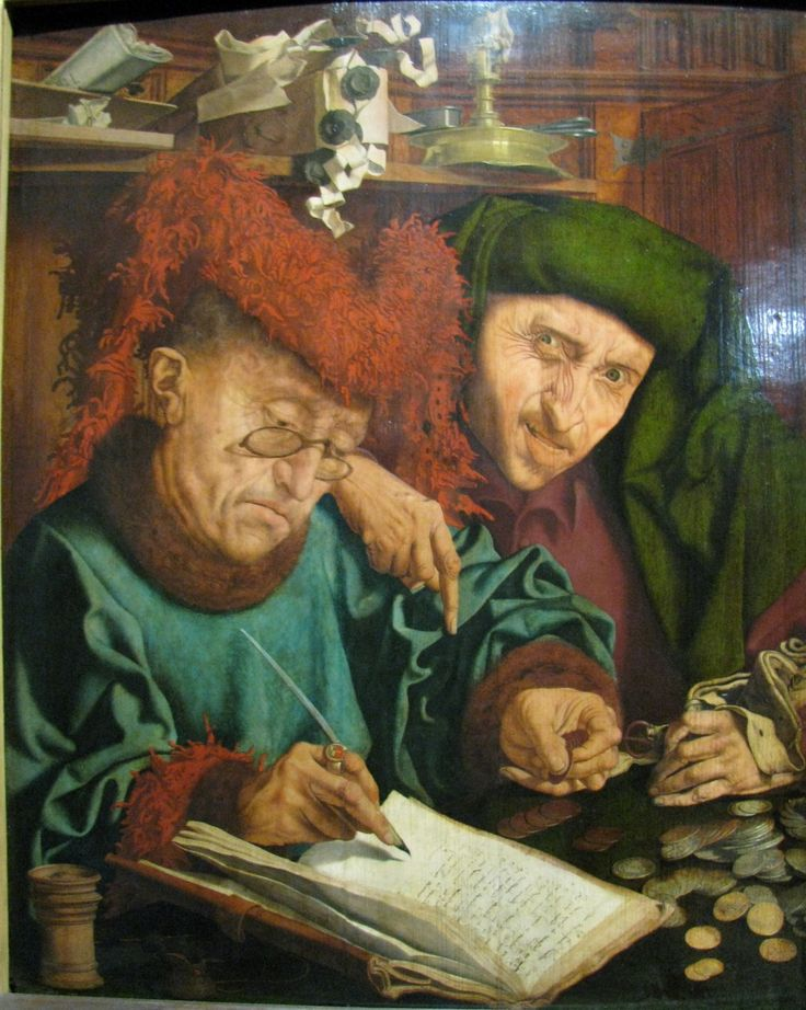"""Tax Collectors"" (c.1550-1560) by Marinus van Reymerswaele. National Museum, Warsaw."