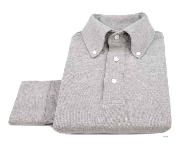 Luxire button down collar full sleeves t-shirt constructed in Grey Knitted Pique: http://luxire.com/products/grey-knitted-pique